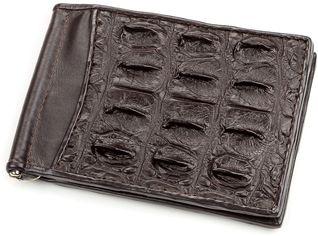 Акция на Зажим для купюр Crocodile Leather 18170 Коричневый от Rozetka