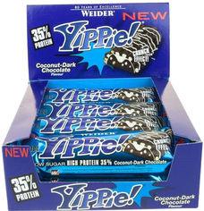 Протеиновый батончик Weider Yippie! 70 г Coconut-Dark Chocolate 12 шт (4044782906279) от Rozetka