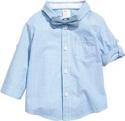 Рубашка H&M 95170486 74 см Голубая (hm00277914141) от Rozetka