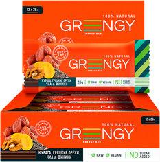 Акция на Упаковка батончиков Greengy Финики, Курага, Грецкие орехи и Чиа 12 шт х 26 г (4820221320437) от Rozetka