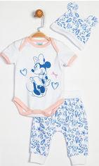Комплект (боди + штаны + шапка) Disney Minnie Mouse MN13931 74-80 см Бело-розовый с синим (8691109716507) от Rozetka