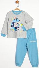 Пижама (футболка с длинными рукавами + штаны) Disney Mickey Mouse MC13904 86 см Серая с голубым (8691109714411) от Rozetka