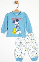 Пижама (футболка с длинными рукавами + штаны) Disney Mickey Mouse MC13903 74-80 см Белая с голубым (8691109710611) от Rozetka