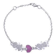 Серебряный браслет Влюбленные с розовыми и белыми фианитами 000043210 18 размера от Zlato