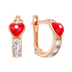 Серьги из красного золота Первая любовь с красной эмалью и фианитами 000080360 от Zlato