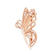 Золотая брошь Фея-бабочка с ажурными крыльями и белыми фианитами 000095131 от Zlato