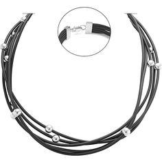 Каучуковый многослойный шнурок с серебряными вставками и замком 000049269 000049269 45 размера от Zlato