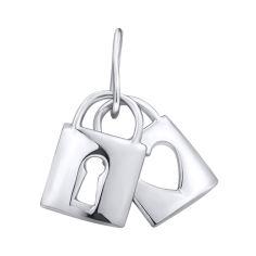 Серебряный кулон Два замочка с сердечком и скважиной 000103007 от Zlato