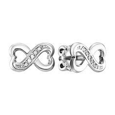Серьги-пуссеты из белого золота Бесконечность любви с бриллиантами 000104526 от Zlato