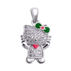 Серебряный кулон Hello Kitty с фианитами, красной и зеленой эмалью 000106938 000106938 от Zlato