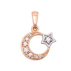 Золотая подвеска Луна и Звезда с цирконием 000060637 от Zlato