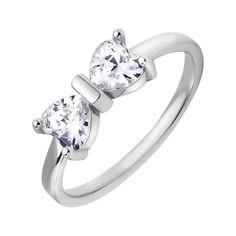 Серебряное кольцо Узы любви с бантиком на шинке и фианитами 000116334 17.5 размера от Zlato