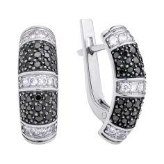 Акция на Серебряные серьги Жасмин с черными и белыми фианитами 000118033 от Zlato