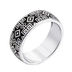 Серебряное кольцо Краля с орнаментом в стиле вышивки и черной эмалью 000119294 16.5 размера от Zlato