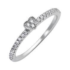 Серебряное кольцо Милое сердечко с дорожками фианитов 000118403 17 размера от Zlato