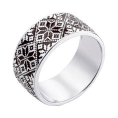 Серебряное кольцо Вышиваночка с орнаментом и черной эмалью 000119297 18.5 размера от Zlato