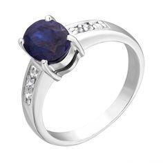 Акция на Серебряное кольцо с сапфиром и цирконием 000125049 000125049 17.5 размера от Zlato