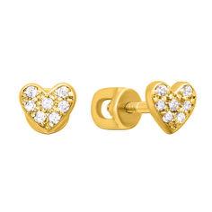Золотые серьги-пуссеты Доброе сердце в желтом цвете с фианитами 000129168 от Zlato