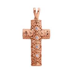 Акция на Декоративный крестик из красного золота с фианитами 000129430 000129430 от Zlato