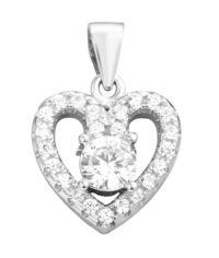 Серебряный кулон Сердечко с кристаллами циркония 000130690 от Zlato