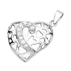Серебряный кулон Сердце с узором из сердечек и фианитами 000130378 от Zlato