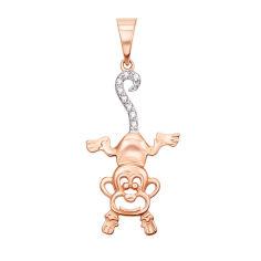 Кулон в красном золоте Игривая обезьянка с фианитами 000130127 от Zlato