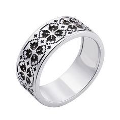 Серебряное кольцо с черной эмалью 000133338 000133338 16 размера от Zlato