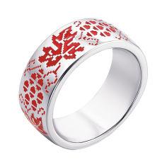 Серебряное кольцо с красной эмалью 000133714 000133714 18 размера от Zlato