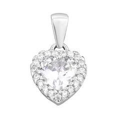 Серебряный кулон-сердечко с фианитами 000134932 000134932 от Zlato