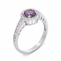 Серебряное кольцо с аметистом и фианитами 000136092 000136092 15.5 размера от Zlato