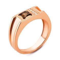 Акция на Перстень-печатка из красного золота с раухтопазом и цирконием 000136868 000136868 21.5 размера от Zlato