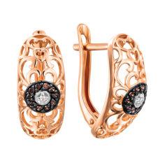 Акция на Золотые серьги в комбинированном цвете с цирконием 000138500 000138500 от Zlato