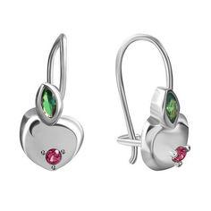 Серебряные серьги Райское яблочко с зеленым и красным цирконием 000034214 от Zlato