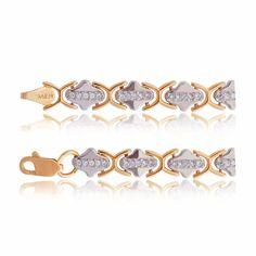 Элегантный женский золотой браслет из комбинированного золота с цирконами, Б052 Eurogold от Eurogold