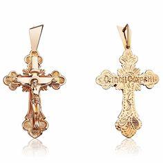 Мужской золотой крест, КР010 Eurogold от Eurogold