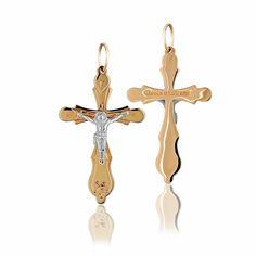 Золотой крест, религиозный, с распятием из белого золота, КР0100/1 Eurogold от Eurogold