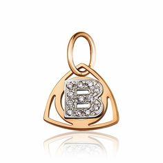"""Золотой кулон с цирконами в форме буквы """"В"""", комбинированное золото, П0179В Eurogold от Eurogold"""
