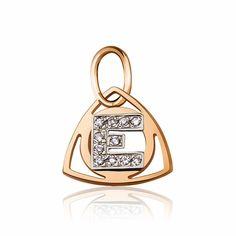 """Золотой кулон в форме буквы """"Е"""", комбинированное золото, П0179Е Eurogold от Eurogold"""