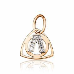 """Золотой кулон в форме буквы """"Л"""", комбинированное золото, П0179Л Eurogold от Eurogold"""