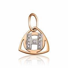 """Золотой кулон в форме буквы """"Н"""", комбинированное золото, П0179Н Eurogold от Eurogold"""