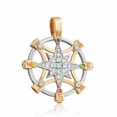 """Золотой подвес с цирконами """"Стороны света"""", комбинированное золото, П0324 Eurogold от Eurogold"""