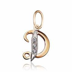 """Золотой кулон с цирконами в форме буквы """"Д"""", комбинированное золото, П045Д Eurogold от Eurogold"""