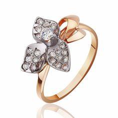 Кольцо  с цирконами, комбинированное золото, КД0184 Eurogold от Eurogold