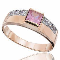 Кольцо  с крупным розовым цирконом, комбинированное золото, КД025Р Eurogold от Eurogold