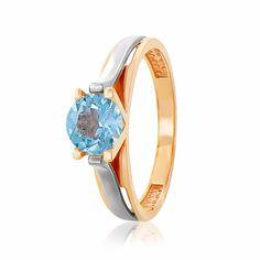 Кольцо  с топазом, комбинированное золото, КД4166ТОПАЗ   Eurogold от Eurogold