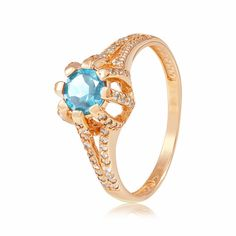 Кольцо золотое с голубым топазом и цирконами, КД4047ТОПАЗ  Eurogold от Eurogold