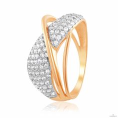 Кольцо золотое с россыпью цирконов, КД0550  Eurogold от Eurogold