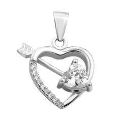 Серебряный кулон Сердце со стрелой с фианитами 000106975 от Zlato