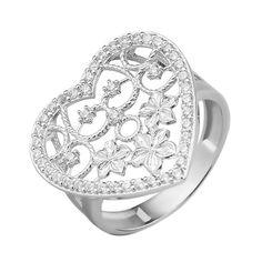 Узорное серебряное кольцо с фианитами 000135202 000135202 17 размера от Zlato