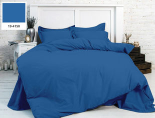 Акция на Однотонное постельное белье MirSon бязь Ofelia 19-4150 синее Полуторный комплект от Podushka